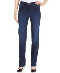 Style And Co. I Heart You Petite Tummy Control Straight Jeans Midnight Wash