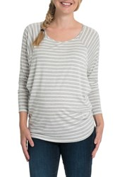 Bun Maternity Bliss Nursing Tee Gray And White Stripe