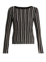 Tabula Rasa Tolun Striped Boat Neck Sweater Black White