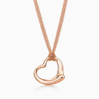 Tiffany And Co. Elsa Peretti Open Heart Mesh Pendant In 18K Rose Gold.