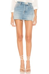Free People Patched Denim Mini Skirt Blue