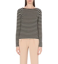 Theory Idette Striped Cotton And Cashmere Blend Top Black Cream