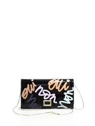 Roger Vivier Oui Non Graffi Print Patent Leather Chain Wallet Black