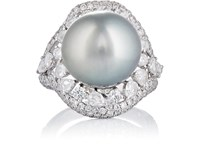 Zoe Tahitian Pearl And Diamond Cocktail Ring No Color
