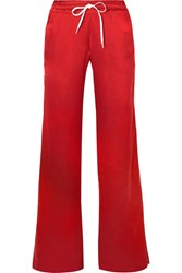 Amiri Leather Trimmed Washed Silk Track Pants Red