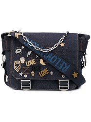 Zadig And Voltaire Readymade Xs Denim Pins Satchel Bag Blue