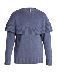 Chloe Iconic Cape Overlay Cashmere Sweater Blue