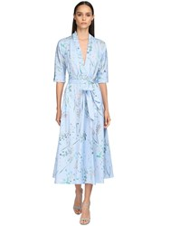 Luisa Beccaria Floral Print Washed Cotton Midi Dress Blue