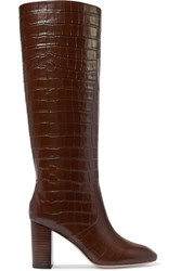 Loeffler Randall Goldy Croc Effect Leather Knee Boots Brown