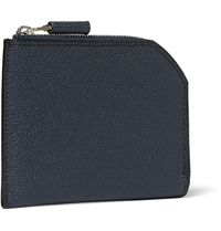 Valextra Pebbled Leather Wallet Blue