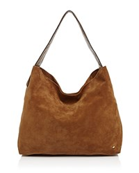 Halston Heritage Tina Soft Suede Shoulder Bag Dark Sand