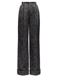 Dolce And Gabbana Houndstooth Wide Leg Trousers Grey Multi