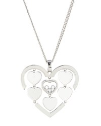 Chopard Happy Amore Floating Diamonds Heart Pendant Necklace 0.05Tcw