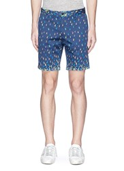 Scotch And Soda Paisley Print Cotton Twill Shorts Blue Multi Colour