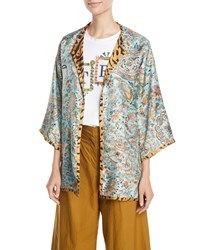 Etro Reversible Fern Paisley And Tiger Print Silk Twill Poncho Blue