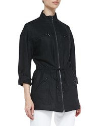 Magaschoni Easy Zip Front Drawstring Jacket Black