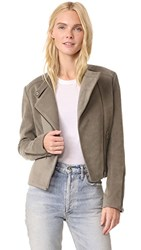 James Jeans Cropped Motorcycle Jacket Brushed Taupe