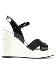 Hogan Crisscross Strap Wedge Sandals
