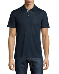Vince Linen Contrast Trim Polo Shirt Coastal Blue
