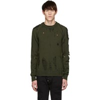 Dsquared2 Green Destroyed Wool Sweater