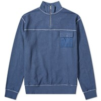 Tres Bien Reverse Half Zip Sweat Blue