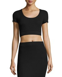 Atm Anthony Thomas Melillo Modal Rib Short Sleeve Cropped Tee Black