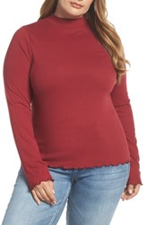 Plus Size Bp. Slim Rib Long Sleeve Tee Red Rumba