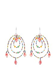 Christopher Kane Beaded Triple Hoop Earrings Red Multi