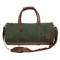 Mahi Leather Classic Duffle Overnight Gym Bag In Green Canvas