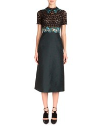 Mary Katrantzou Short Sleeve Combo Dress With Lace Applique Black Teal