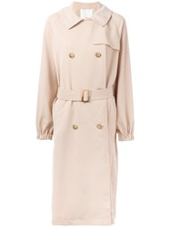 Tibi Draped Twill Trench Coat Nude Neutrals