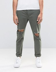 Religion Bloody Chinos With Ripped Knees Khaki Green