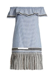 Lemlem Amara Off The Shoulder Striped Dress Blue Multi
