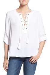 Rebecca Minkoff Henna Lace Up Roll Tab Sleeve Blouse Green
