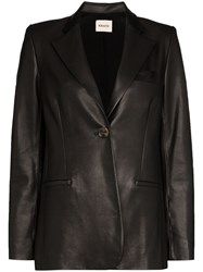 Khaite Vera Single Breasted Leather Blazer 60