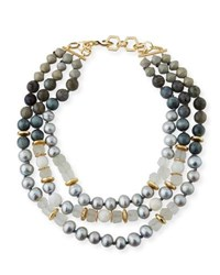 Akola Three Strand Pearly Beaded Necklace Gray Pink