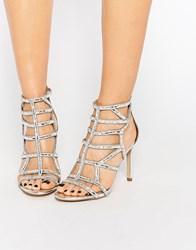Aldo Norta Silver Heeled Cut Out Embellished Sandals Silver