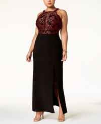 R And M Richards Plus Size Illusion Inset Gown Black Merl