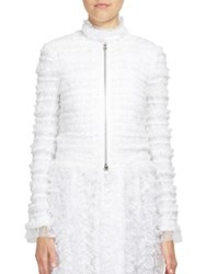 Givenchy Ruched Tulle Zip Front Jacket White