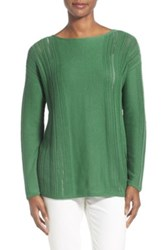 Lafayette 148 New York Bateau Neck Sweater Green