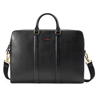 Gucci Leather Briefcase With Web Black