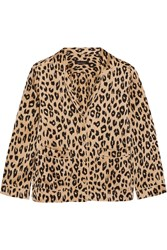 Kate Moss For Equipment Lake Leopard Print Washed Silk Pajama Shirt Leopard Print Neutral