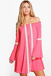 Boohoo Tribal Ethnic Swing Dress Coral