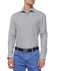 Kiton Check Long Sleeve Woven Shirt Brown Blue Men's