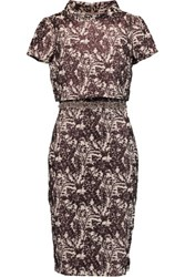 Badgley Mischka Embellished Layered Matelasse Dress Dark Brown
