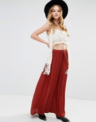 Glamorous Festival Maxi Skirt With Drawstring Waist Brown