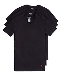 Polo Ralph Lauren Slim Fit V Neck Tee Set Of 3 Black