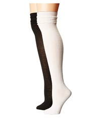 Steve Madden 2 Pack Over The Knee Scallop Cuff Off White Black Women's Thigh High Socks Shoes Multi