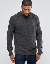 Bellfield Reverse Seam Turtle Neck Knitted Jumper Charcoal Grey