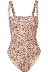 Faithfull The Brand Phoebe Floral Print Swimsuit Brown